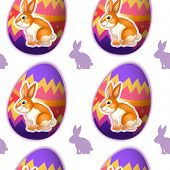 Illustration of a seamless design with bunnies inside the eggs on a white background