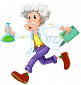 Illustration of a scientist running hurriedly on a white background