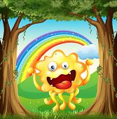 Illustration of a monster at the woods with a rainbow in the sky