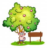 Illustration of a monkey under the tree beside the empty wooden board on a white background