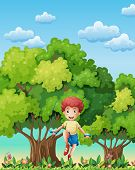Illustration of a boy playing with the skipping rope near the trees