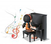 Illustration of a young girl playing with the piano on a white background