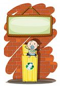 Illustration of a trashcan with a baby below the hanging signboard on a white background