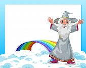 Illustration of an empty template with a wizard and a rainbow
