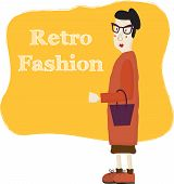 Old cartoon woman wearing fashion glasses, vector illustration.