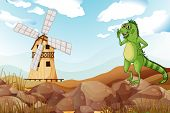 Illustration of a smiling lizard across the wooden barnhouse with a windmill