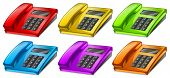 Illustration of the colorful telephones on a white background