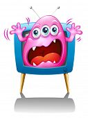 Illustration of a TV with a pink monster screaming on a white background