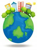Illustration of the earth with trees and tall buildings on a white background