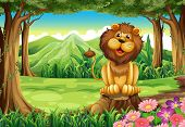 Illustration of a smiling king lion above the stump