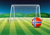 Illustration of a ball at the field with the flag of Norway