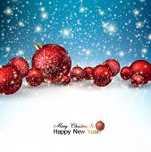 Beautiful Christmas red balls on snow.  Red Xmas baubles. Vector