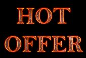 Burning text hot offer