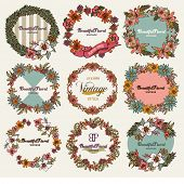 Vintage Botanical - Wreath of Flowers ,