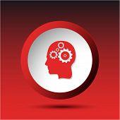 Human brain. Plastic button. Raster illustration.