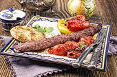 stock photo of kababs  - kebab with grilled vegetables - JPG