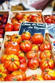 Organic Tomatoes From Mediterranean Farmers Market In Provence, France.