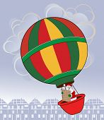 Santa in a hot air balloon with Naughty and Nice list  over village or town