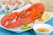image of lobster tail  - Tasty cooked fresh lobster with lemon wedges - JPG