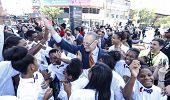 Senator Schumer greets assembled kids
