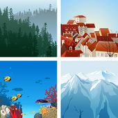 4 highly detailed landscapes for your designs