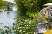 stock photo of airboat  - Airboat in Everglades Florida Big Cypress National Preserve - JPG