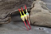 Fishing Floats On Driftwood