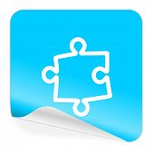 puzzle blue sticker icon