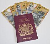 Austalian 50 Dollar Notes And A Passport