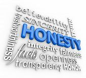 Honesty and related 3d words including sincerity, believability, integrity, openness, transparency,