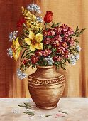 Painting, garden flowers in a clay amphora