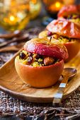 Baked apples with couscous,nuts and dried berries