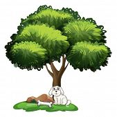 Illustration of a cute dog under the tree on a white background
