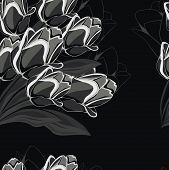 Seamless black background with black tulips.