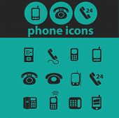 phone, smartphone icons, signs, symbols, objects, illustrations set. vector