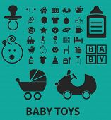 baby toys icons, signs, symbols, objects, illustrations set. vector