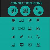 connection icons, signs, symbols, objects, illustrations set. vector