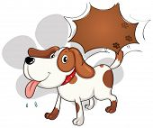 Illustration of a cute dog panting on a white background
