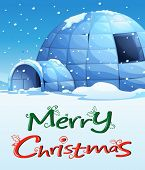 Illustration of a christmas template with an igloo