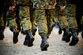stock photo of veterans  - Soldiers march in formation  - JPG