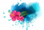 Abstract Background With Hibiscus Flowers