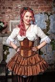 Beautiful Steampunk Woman Winking