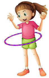 image of hulahoop  - Illustration of a young girl playing hulahoop on a white background - JPG
