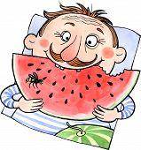 Cartoon Man Eating Watermelon