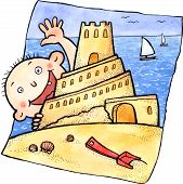 foto of children beach  - Young child playing with sand castle on the beach - JPG