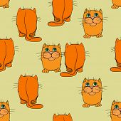 Seamless texture of repeating images built cats.