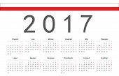 Polish 2017 Year Vector Calendar