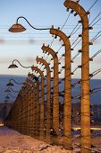 pic of hitler  - Fence with wire and lamp around  concentration camp - JPG