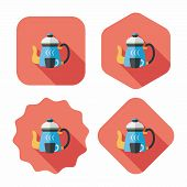 Coffee Kettle And Cup Flat Icon With Long Shadow,eps10