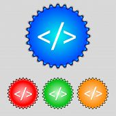 Code Sign Icon. Programming Language Symbol. Set Of Colored Buttons. Vector